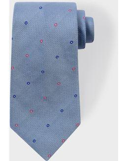 Men's Sky Blue 'polka-floral' Motif Silk Tie