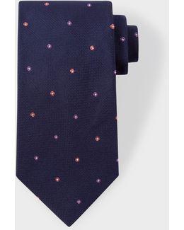 Men's Navy 'polka-floral' Motif Silk Tie