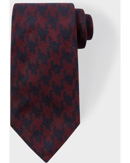 Men's Navy And Burgundy Dogtooth Silk Tie