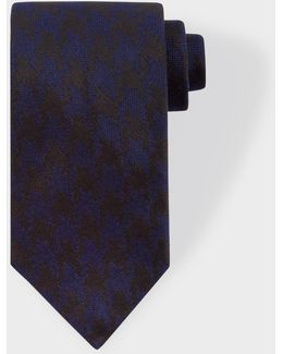 Men's Navy And Black Dogtooth Silk Tie
