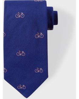 Men's Cobalt Blue Bike Pattern Silk Tie