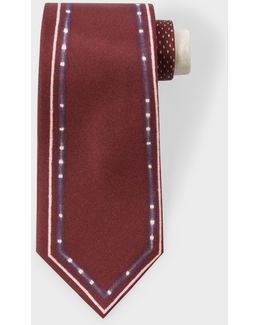 Men's Burgundy 'double-outline' Silk Tie
