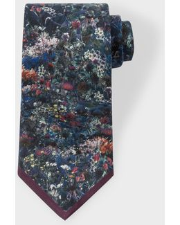 Men's Damson 'photo-floral' Silk Tie