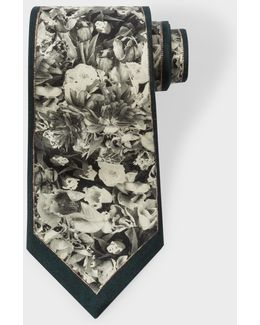 Men's Black 'photo-floral' Silk Tie
