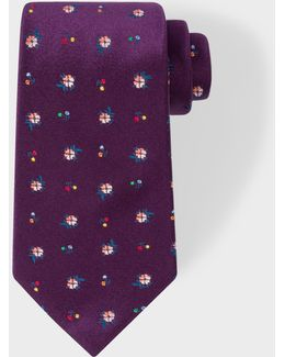 Men's Purple 'wild Flower' Pattern Silk Tie