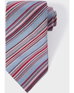 Men's Grey Multi-coloured Diagonal Stripe Silk Tie