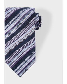 Men's Navy Multi-coloured Diagonal Stripe Silk Tie