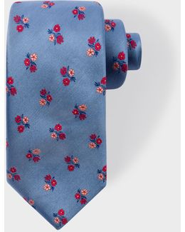 Men's Sky Blue Floral Silk Tie