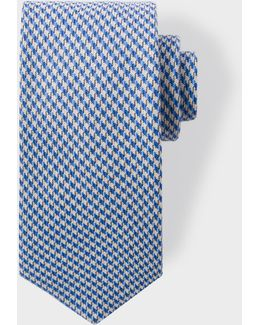 Men's Blue Dogtooth Pattern Wool-blend Tie