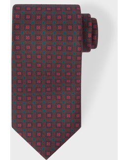 Men's Brown 'squares' Motif Silk Tie
