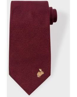 Men's Rabbit Embroidered Black Silk Tie