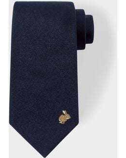 Men's Rabbit Embroidered Navy Silk Tie
