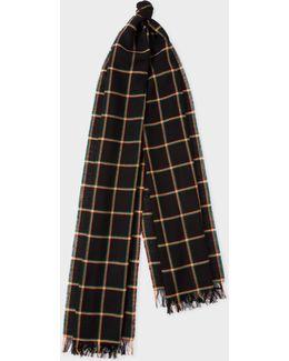 Men's Black Windowpane Check Wool Scarf