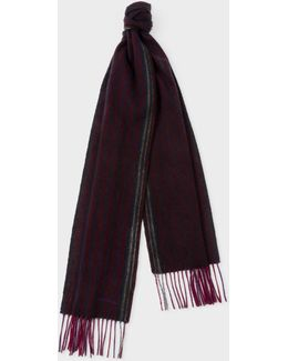 Men's Burgundy And Purple Stripe Wool Scarf