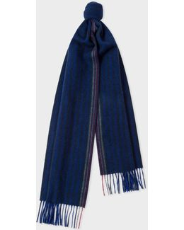 Men's Cobalt And Navy Stripe Wool-cashmere Scarf