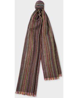 Men's Signature Stripe Herringbone Lamsbwool Scarf