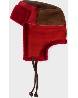 Men's Burgundy Colour-block Sheepskin Chapka Hat