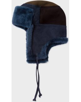 Men's Navy Colour-block Sheepskin Chapka Hat