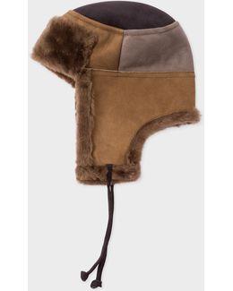 Men's Brown Colour-block Sheepskin Chapka Hat