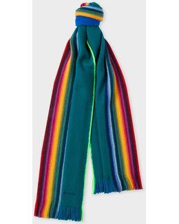 Men's Pine Green Rainbow-edge Merino Wool Scarf
