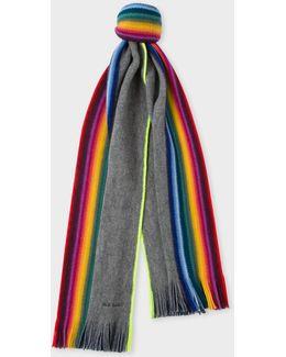 Grey Rainbow Stripe Wool Scarf