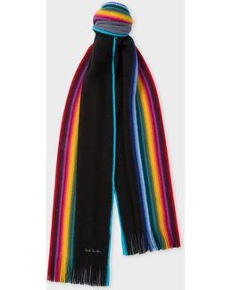 Men's Black Rainbow-edge Merino Wool Scarf