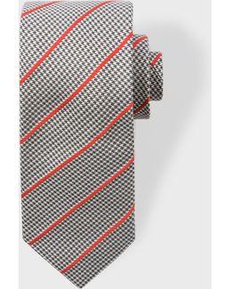 Men's Dogtooth Stripe Narrow Silk Tie