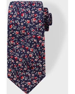 Men's Navy Floral Embroidery Narrow Silk Tie