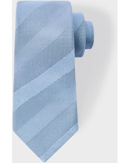 Men's Light Blue Textured Stripe Narrow Silk Tie