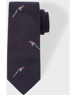 Men's Navy Bird Pattern Narrow Silk Tie