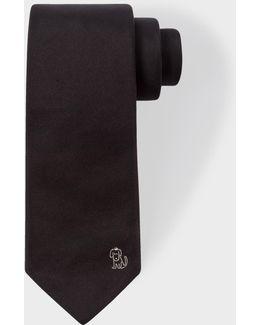 Men's Black 'dog Doodle' Narrow Silk Tie