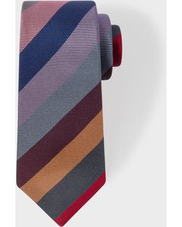 Men's Burgundy Textured Multi-coloured Stripe Narrow Silk Tie