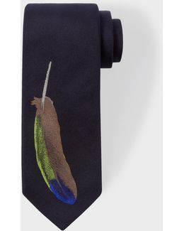 Men's Navy Narrow Silk Tie With Tricolour 'feather' Motif