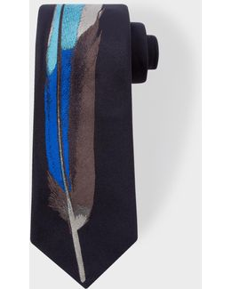 Men's Navy Narrow Silk Tie With Blue 'feather' Motif