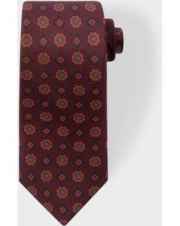 Men's Burgundy 'diamond Floral' Motif Narrow Silk Tie
