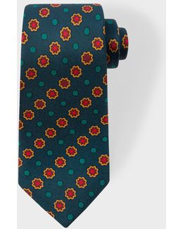 Men's Fir Green Polka Dot Floral Narrow Silk Tie