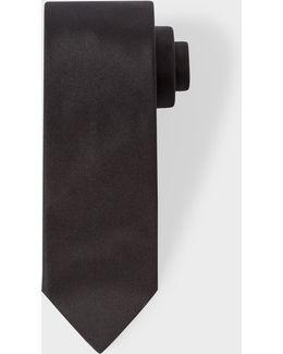 Men's Black Textured Diagonal Stripe Narrow Silk Tie