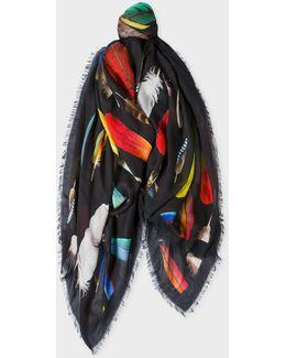 Men's Black 'feather' Motif Scarf