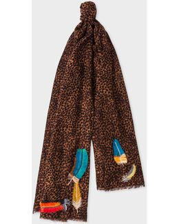 Men's Leopard Wool Scarf With 'feather' Embroidered Motifs