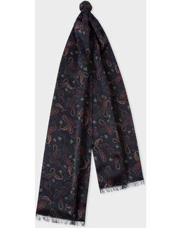 Men's Navy 'feather Paisley' Print Silk-blend Tubular Scarf