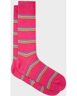 Men's Pink Multi-stripe Block Socks