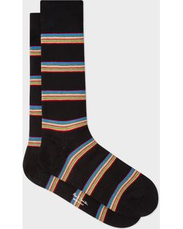 Men's Black Multi-stripe Block Socks