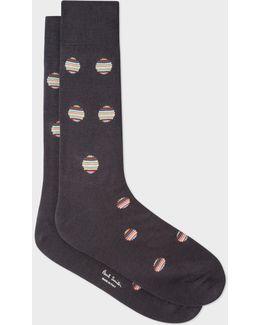 Men's Dark Grey Polka Dot Stripe Socks