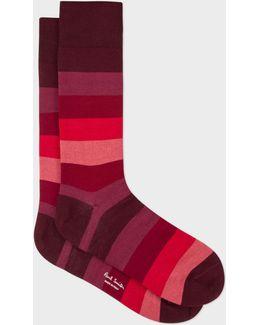 Men's Burgundy And Red Tonal Stripes Socks