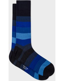 Men's Navy And Blue Tonal Stripe Socks