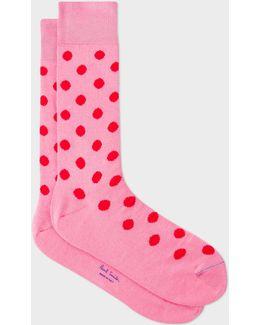 Men's Pink Polka Dot Socks