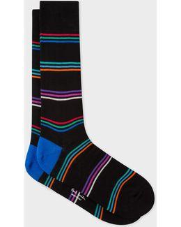 Men's Black Multi-coloured Block Stripe Socks