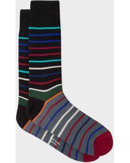 Men's Black And Grey Echo-stripe Socks