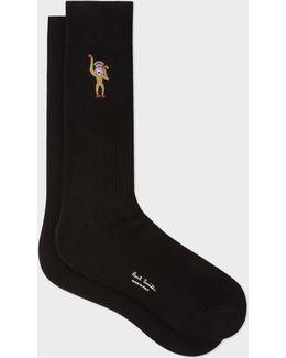 Men's Black Embroidered 'monkey' Motif Socks