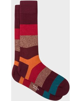 Men's Burgundy Starlight-stripe Socks